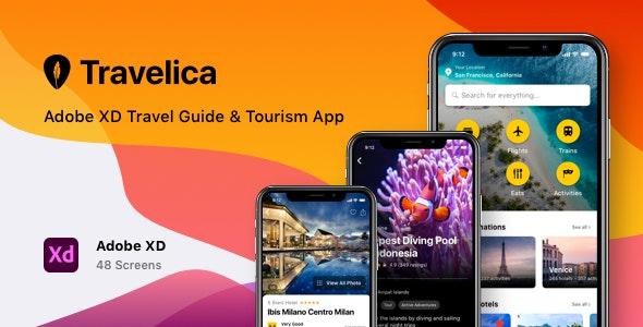 Travelica - Adobe XD Travel Guide & Tourism App - Travel Retail