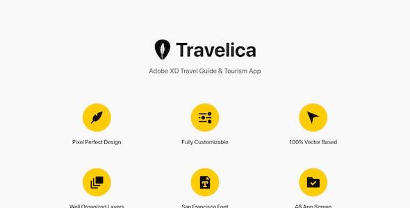 Travelica - Adobe XD Travel Guide & Tourism App