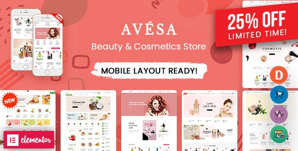 Avesa - Beauty, Cosmetics Store Elementor WooCommerce WordPress Theme (08+ Indexes + Mobile Layout) - WooCommerce eCommerce