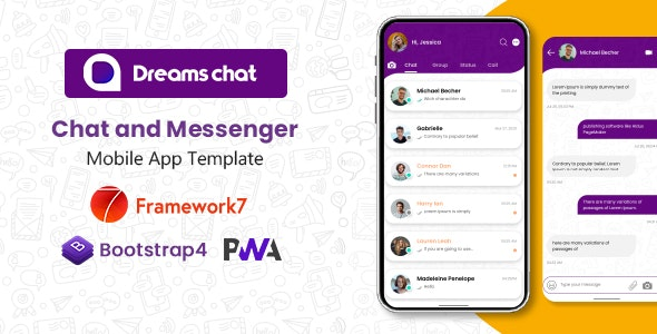 DreamsChat - Mobile App Template (Framework 7 + Bootstrap + PWA) - Mobile Site Templates