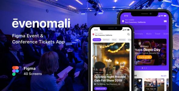Evenomali - Figma Event & Conference Tickets App - Events Entertainment