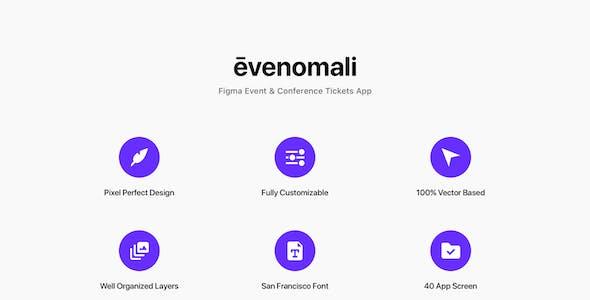 Evenomali - Figma Event & Conference Tickets App