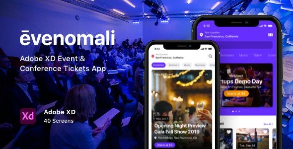 Evenomali - Adobe XD Event & Conference Tickets App - Events Entertainment