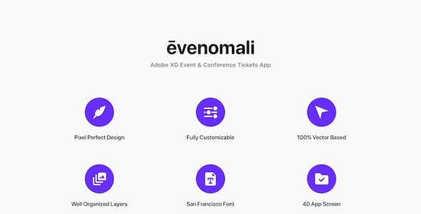 Evenomali - Adobe XD Event & Conference Tickets App