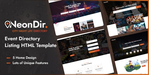 NeonDir - Event Directory Listing HTML Template - Business Corporate