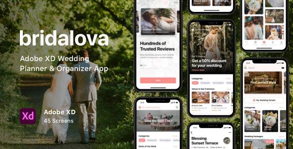 Bridalova - Adobe XD Wedding Planner & Organizer App - Business Corporate