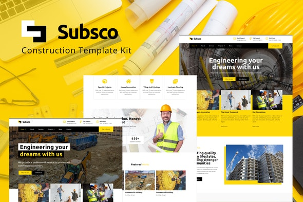 Subsco - Construction Elementor Template Kit - Business & Services Elementor
