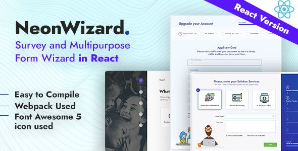 NeonWizard - React JS Questionnaire Multistep Form Wizard React JS - Miscellaneous Site Templates