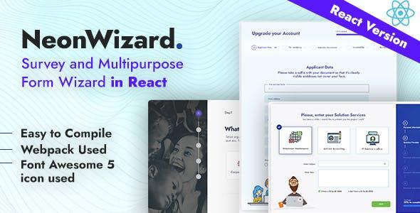 NeonWizard - React JS Questionnaire Multistep Form Wizard React JS