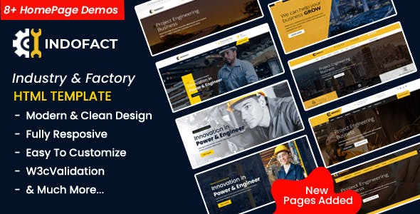 Indofact - Industry, Factory and Engineering HTML 5 Template