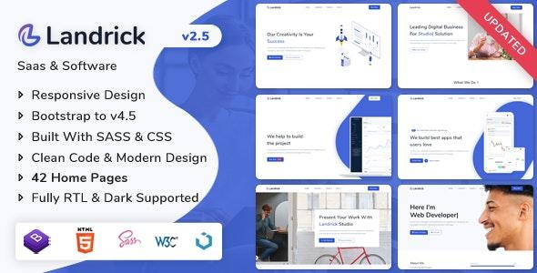 Landrick - Saas & Software Landing Page Template - Technology Site Templates