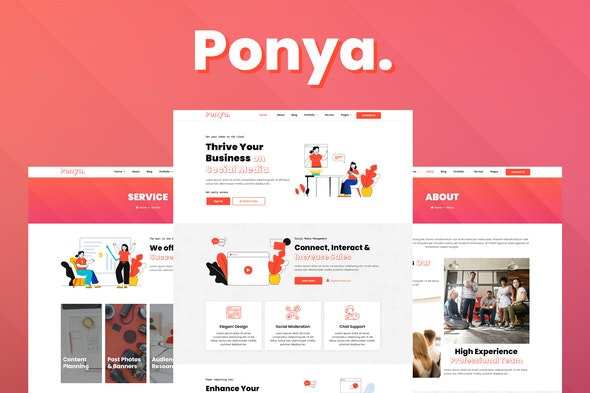 Ponya - Social Media Agency Template Kit - Business & Services Elementor