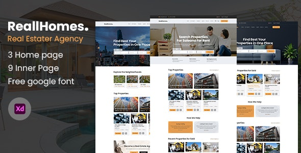 ReallHomes - Real Estate & Property Agency XD Template - Business Corporate