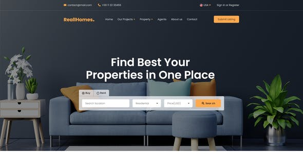 ReallHomes - Real Estate & Property Agency XD Template