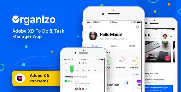 Organizo - Adobe XD To Do & Task Manager App