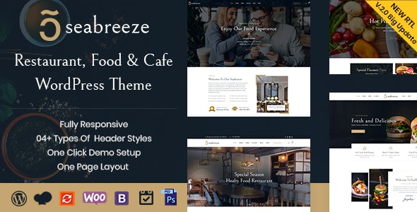 Seabreeze - Restaurant and Cafe WordPress Theme - Restaurants & Cafes Entertainment