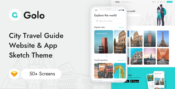 Golo - City Travel Guide Website & App Sketch Template - Travel Retail