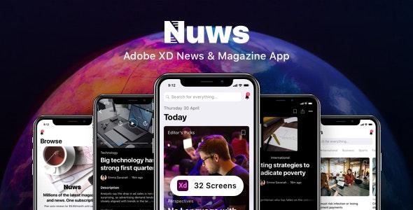 Nuws - Adobe XD News & Magazine App - Miscellaneous Adobe XD
