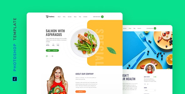 Foolivery – Health Food Template for Photoshop - Restaurants & Cafes Entertainment