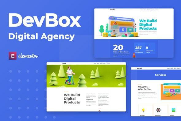 DevBox — Creative Digital Agency Elementor Template Kit - Creative & Design Elementor