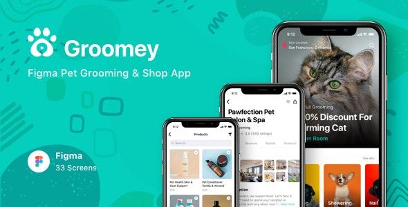Groomey - Figma Pet Grooming & Shop App - Business Corporate