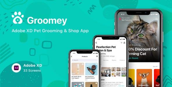 Groomey - Adobe XD Pet Grooming & Shop App