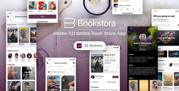 Bookstora - Adobe XD Online Book Store App - Shopping Retail