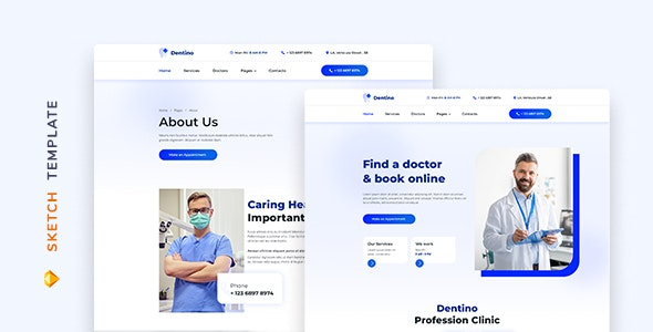 Dentino – Dental Clinic Template for Sketch - Health & Beauty Retail
