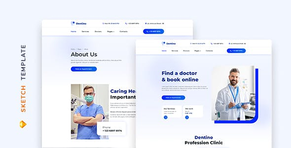 Dentino – Dental Clinic Template for Sketch