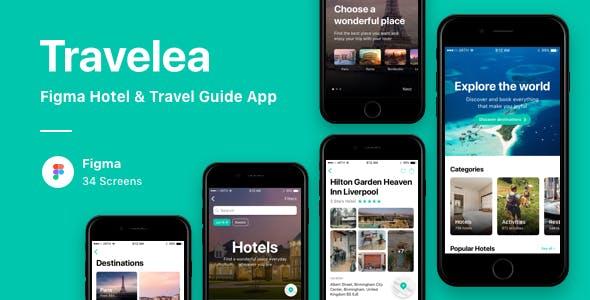 Travelea - Figma Hotel & Travel Guide App