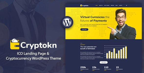 Cryptokn - ICO Landing Page & Cryptocurrency WordPress Theme - Technology WordPress
