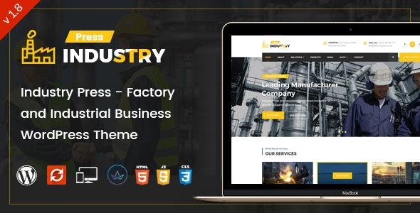 Industry Press - Factory and Industrial Business WordPress Theme - Business Corporate