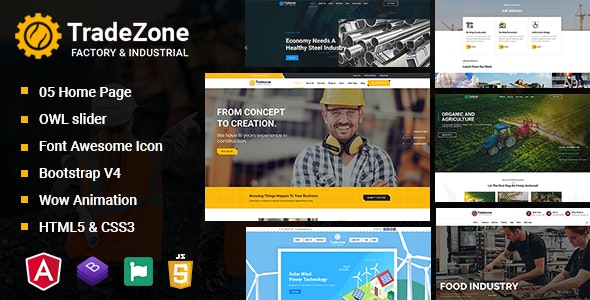 TradeZone - Industry One Page Angular Template - Site Templates