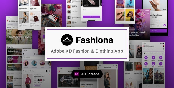 Fashiona - Adobe XD Fashion & Clothing App - Shopping Retail