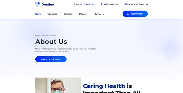 Dentino – Dental Clinic Template for XD