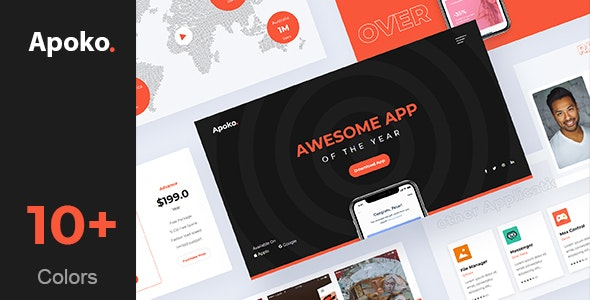 Apoko - Software & App Landing Page Template - Technology Site Templates