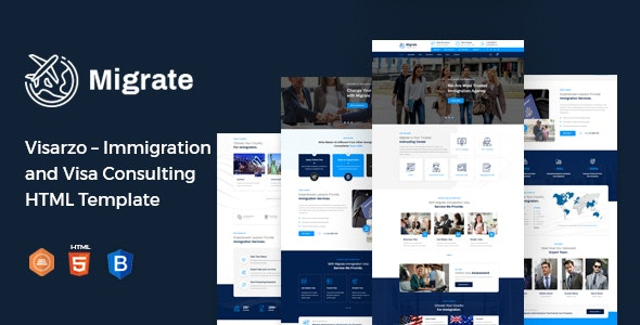 Migrate – Immigration and Visa Consulting HTML Template - Business Corporate