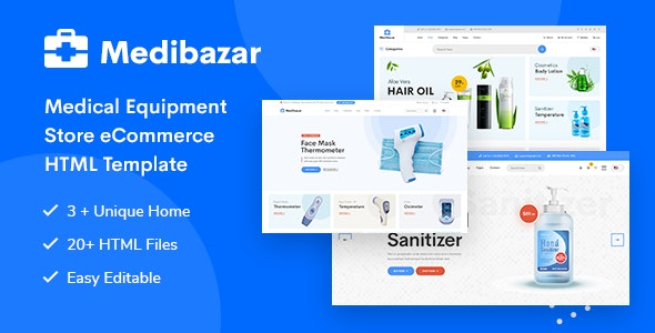 Medibazar - Medical Equipment Store eCommerce HTML Template - Shopping Retail