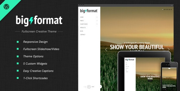 BigFormat - Responsive Fullscreen Wordpress Theme - Portfolio Creative
