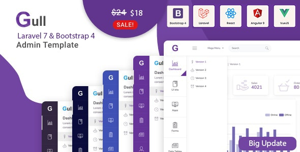 Gull -  Bootstrap 4 HTML & Laravel  Admin Dashboard Template - Admin Templates Site Templates