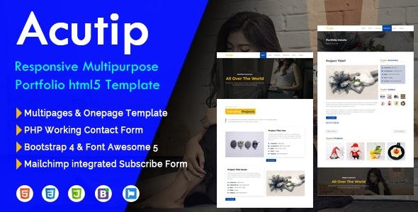 Acutip - Responsive Multipurpose Portfolio HTML5 Template - Creative Site Templates