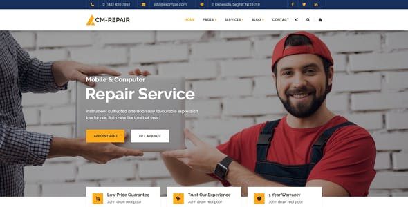 CM-Repair - Computer and Mobile Repair Store XD Template