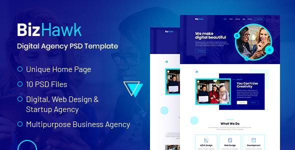 BizHawk - Corporate Agency PSD Template - Corporate Photoshop