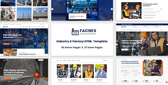 Facnex - Industry & Factory HTML Template - Business Corporate