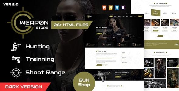 Weapon store - gun shop HTML template - Retail Site Templates