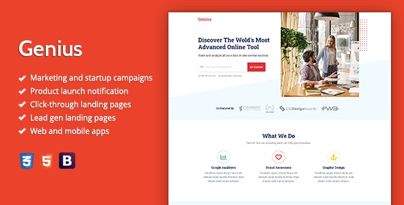 Genius - Premium HTML Landing Page Template - Landing Pages Marketing