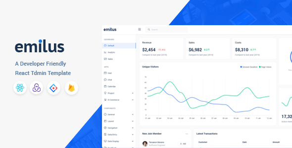 Emilus - React Admin Template