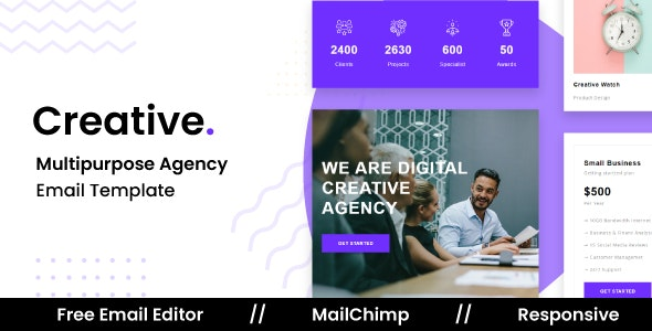 Creative - Responsive Email Template For Agency With Free Email Editor - Newsletters Email Templates