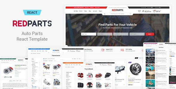 RedParts - Auto Parts React eCommerce Template - Shopping Retail