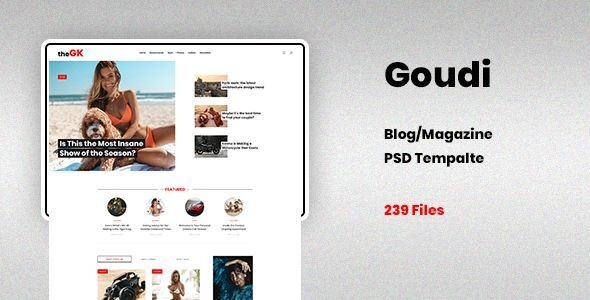 Goudi - Blog Magazine PSD Template - Personal Photoshop